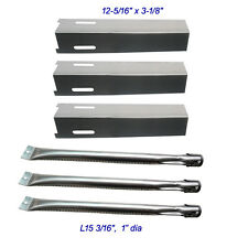 BBQ Grillware GSF2616 Grill Rebuild Kit Replacement SS Heat Plate and Burner-3pk