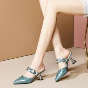 Women Flora Strap Patent Leather Mules Cone Heels Pointy Toe Shoes Party Casual