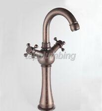 NEW Antique Copper Swivel Spout Kitchen Sink Faucet Dual Handle Mixer Tap tnn013