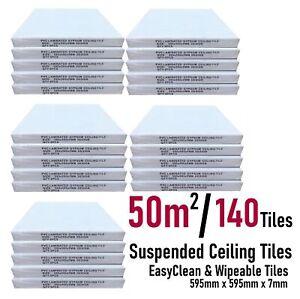 50m2 Suspended Ceiling Vinyl Wipeable 595x595 Easy Clean 600x600 140 Tiles Pack