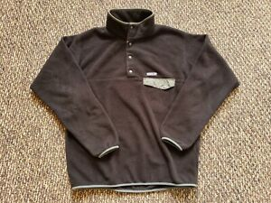 Patagonia Synchilla 1/4 Button Snap T Fleece Pullover Black Jacket Size Large