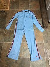 VTG Blue Playboy Logo Sweatsuit Track Suit Womens 2 Piece Sz M Pants/Jacket