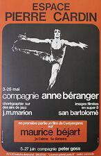 """""""Maurice BEJART (ESPACE PIERRE CARDIN 1973)"""" Affiche originale entoilée J. HUTIN"""