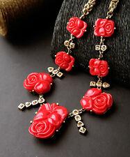 Halskette Golden Rot Koralle Bernstein Kristall Blume Rose Geschnitzt Retro OSC2