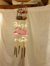 Hand Carved Made Wooden Bamboo  Wind Chime with real seashells