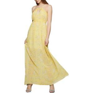 BCBGeneration Womens Chiffon Lace Trim Floral Print Maxi Dress BHFO 4179