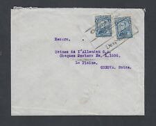 COLOMBIA 1920s TWO COVERS MEDELLIN BOXED CANCELS TO LA PLAINE SWITZERLAND