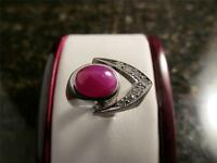 Vintage 1970's Retro Modernist 14k  White Gold Red Star Sapphire Diamond Ring