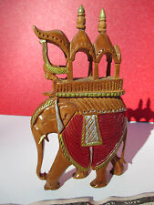 Handmade and Decorated Carved Wood Miniature Mughal King's Elephant with Rider