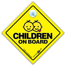 Children On Board Car Sign, Baby On Board Sign, Kids in Car Suction Cup Sign