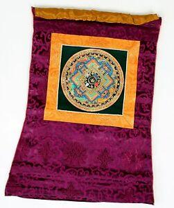 Om Mandala Thangka im roten Brokatrahmen handgemalt Nepal Buddhismus Nr.5