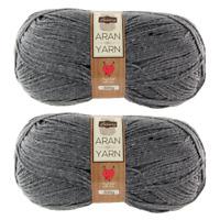 2x Luxury Aran Knitting Yarn Wool Grey 300g