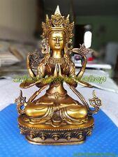 Rare China Tibet Bronze 4 Arms Kwan-yin Chenrizg gilding Buddha lucky Statue