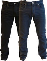 Mens Crosshatch Branded Slim Fit Denim Straight Jeans Pants Up to Plus Sizes