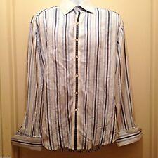 Robert Graham Mens Size XLarge Blue White Striped Dress Shirt Long Sleeve