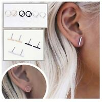 Women Boho Fashion Small Minimalist Jewellery Delicate Circle Bar Stud Earrings