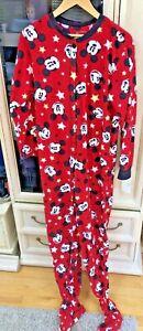 Disney Mickey Mouse Pajamas One Piece Pajamas Woman L 11/13 Footed - NWT