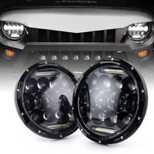 "Pair 7"" inch Black Approved LED Headlight LAND ROVER DEFENDER TD4 TD5 90 110"