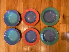 """Lindt Stymeist Colorways Rimmed 9"""" Pasta Soup Bowls Japan Buy Lot or Individual"""