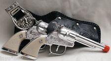Cowboy Cap Gun Set Two Guns BRAND NEW Two Beautiful Holsters, Belt 10001