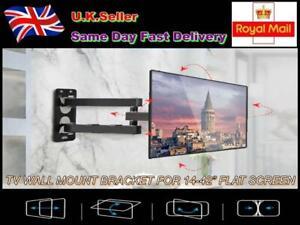 "TV WALL MOUNT BRACKET FULL MOTION 14-42"" LED LCD 3D FLAT SCREEN BLACK"