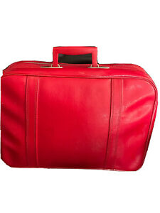 Vtg 1960's Red Luggage Suitcase Carry On Bag Weekender mid century