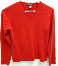 Mendocino Women's Sz L Red Casmere V-Neck Sweater