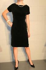 S Black Velvet VTG 50s Bobbie Brooks CROCHET DRESS Belted Wiggle Pencil Skirt