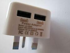 5V 2A 2000mA Double USB Port Plug White UK Mains AC Power Adapter Charger