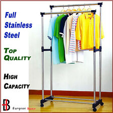 Portable Stainless Steel Double Clothes Rack Hanger Cloth Coat Garment Dryer