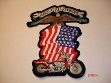 PATCH, ABOVE ALL OTHERS, MOTORCYCLE & FLAG, 8 x 9 1/2