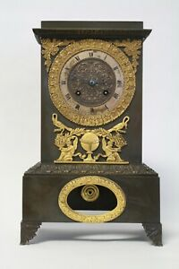 French Empire Patinated Bronze & Ormolu Antique Table Clock silk thread, mantle