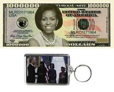 "Obama -  (2)  ""Michelle Obama"" (Million Dollar) Commemorative Bills + Keychain"