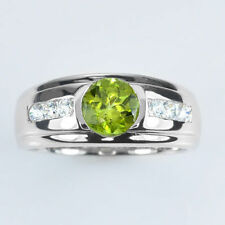 Solid 925 Sterling Silver Natural Gem Stone Cz & Peridot Men's Ring Us Size 8 9