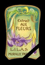 Vintage French Perfume Soap Label: Antique Art Nouveau Lilas Miraly Paris France
