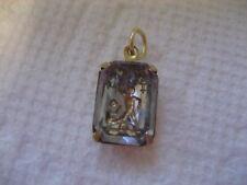 Vintage Zodiac sign GEMINI the twins etched intaglio glass cabochon pendant
