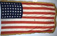 Vintage 48 Star US American Flag Gold Fringe Silk/Nylon 3'x 5'