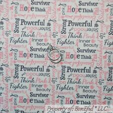 BonEful Fabric FQ Cotton Quilt White Pink Gray Word Breast Cancer Small Ribbon L