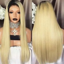 Blonde With Dark Root Hair. Straight Lace Front Wig. Human