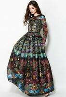 Womens Floral Printing Dress Long Sleeves Maxi Gown Ball Occident Designer S-2XL