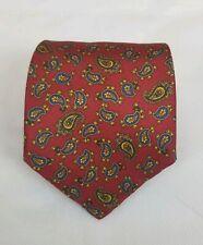 J. Press Men's 100% Silk Neck Tie Red Paisley 59L 3.5W