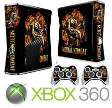 Xbox 360 SLIM Console Sticker Skin Mortal Kombat Style & 2 X Controller Skins