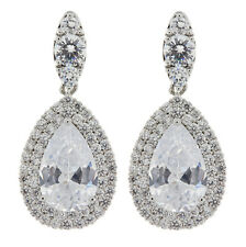 CLIP ON EARRINGS silver plated luxury earring with Cubic Zirconia stones - Mavis