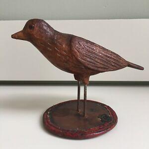 Antique 19th Century Decorative Treen Bird on Leather Base Wooden Figure 19x14cm