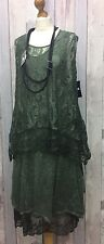 "SARAH SANTOS SAGE GREEN WOOL & LACE 2PC DRESS SIZE SMALL 44""B 16-18 LAGENLOOK"