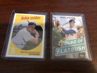 2 Card Lot Duke Snider 2018 1958 Reprint 2020 Duke of Flatbush poster card Topps