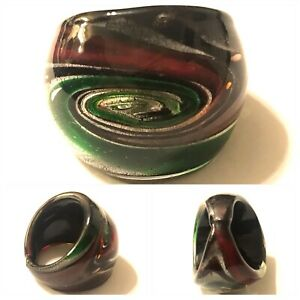 Vintage Art Glass Red And Green Swirl Ring Size 7