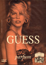 1991 magazine Advertisement for GUESS Perfume Claudia Schiffer Lacey Bra 122915