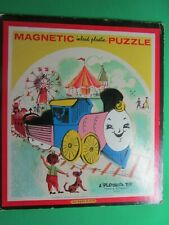 RARE VINTAGE 1960's 13-pc TRAIN MAGNETIC INLAID PLASTIC TRAY PUZZLE