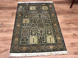 Feiner Perser-Orient Teppich Seidenteppich Seide Felder 120 x 78 Neuwertig